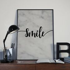 Marble Smile Calligraphy Wall Décor Sign Poster Print - Free Postage
