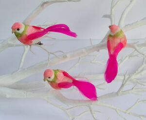 3 Artificial Pink Exotic Feather Fake Clip Birds Decoration Christmas Tree Craft