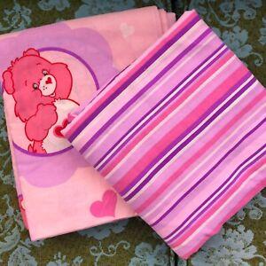 Care Bears TCFC Full Sheet Set Flat Fitted Kid's Pink Purple Cameo 2004 Franko