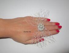 Jaula de velo Vintage Anillo De Boda Marfil Perla Diamante Choochie Nupcial Novia
