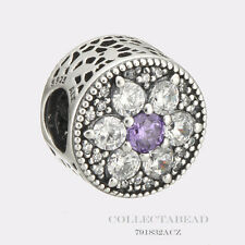Authentic Pandora Sterling Silver Forget Me Not Purple Clear CZ Bead 791832ACZ