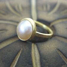 Handmade Designer Pink Pearl Stack Ring 24K Gold Over 925K Sterling Silver