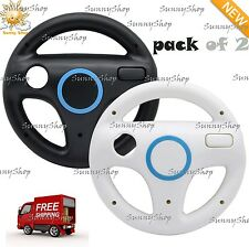 Mario Kart Racing Wheel for Wii 2 Pieces Black And White New