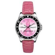 Breast Cancer Awareness Pink Ribbon Unisex Mens Ladies Leather Strap Wrist Watch