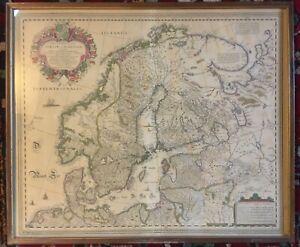 Original 17th Century Engraved Map of Scandinavia - Anders Bure / Abraham Goos