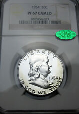 1954 Franklin Proof Silver Half Dollar NGC PF67 CAMEO CAC Uncirculated