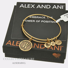 Authentic Alex and Ani Initial W Rafaelian Gold Charm Bangle