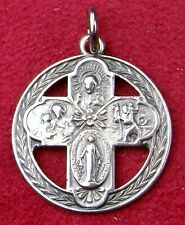 RARE HMH Sterling Silver Victory Wreath WWII Miraculous Medal War Cross Crucifix