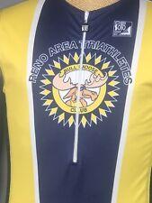 Reno Area Triathletes Bull Moose Club Triathlon Cycling DeSoto Jersey Large