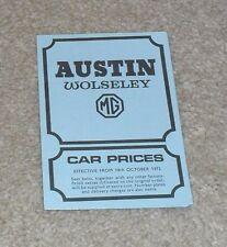 Austin Wolseley MG Price List 1972 Mini Clubman GT 1300 1800 2200 Six MGB GT
