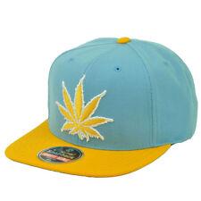 Marijuana Mile High Leaf Weed Snapback Flat Bill Baby Blue Yellow Mens 420