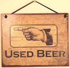 8x10 Sign Used Beer Bathroom Pointing LEFT Bar Drinking Pointing Directional