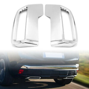 Silver Rear Exhaust Muffler Tail Pipe Cover Trim For 2016-2019 Peugeot 3008 5008