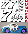 WHITE w/Black (#7's) Racing Numbers Decal Sticker Sheet 1/8-1/10-1/12 mcallister