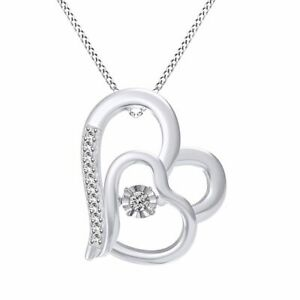Double Heat Dancing Simulated Diamond Pendant In Sterling Silver 0.90 Ct