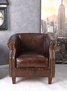 Ledersessel Art Deco Sessel Clubsessel Leder Loungesessel New York Armlehnsessel
