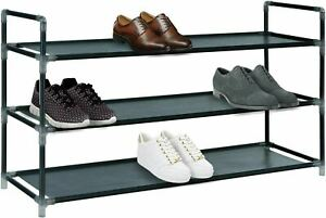 3 Tier Fabric SHOE Stand Storage Organiser RACK Lightweight Compact Space Save