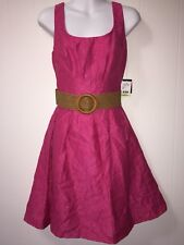 New NINE WEST Pink Jazzberry Shimmer Pleated Dress NWT 4