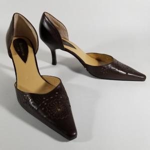 Liz Clairborne Brown Leather Pointed Toe Pumps   Women's 10M   Laser Cut Flowers