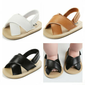 Newborn Baby Boys Girls Faux Leather Pram Shoes Infant Inhouse Crawling Sandals