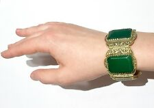 BIG Chinese Antique Vintage Bracelet with green stone or paste China Silver mark