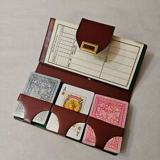 More details for heraclio fournier vitoria bridge playing cards set in leather wallet vintage