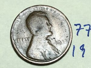 1912 1C BN Lincoln Cent Wheat Penny 7733K