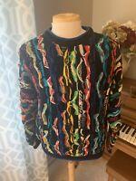 Vintage COOGI Sweater, Colorful Biggie Knit, Mercerized Cotton, Australia, Large