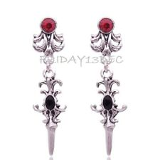 VINTAGE VICTORIAN SCROLL DROP EARRINGS & RED STONE WHITBY GOTH PUNK HALLOWEEN