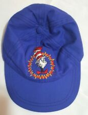 Dr Seuss Cat in the Hat Childrens Cap with Brim Ages 4-7 Blue Embroidered