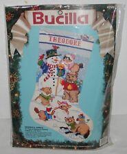 "NEW Bucilla Snowman & Animals Needlepoint 60707 Christmas Stocking 18"" Diagonal"
