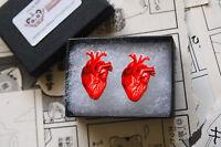 Anatomical Heart Earring Studs - Rockabilly Medical Gothic Steampunk Anatomy