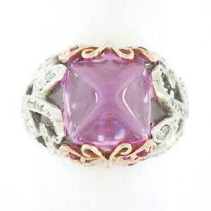 18k TT Gold Sugarloaf Pink Topaz Sapphire Diamond Butterfly Sides Cocktail Ring