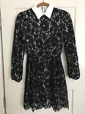 Alice And Olivia Terisa Black And White Lace Dress Nwt $495 Size 4