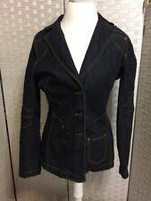 Size 10 Dark Wash Denim Fitted Jacket Nice Stitching Bisou Bisou Dark Wash