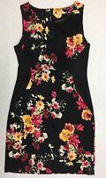 TEABERRY Women's Dress sz 8 Black Multicoloured Floral Sleeveless Stretch Ladies