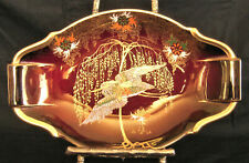 Carlton Ware (England) ROUGE ROYALE Dish Flying Stork, Willow, Flowers 8-1/2""