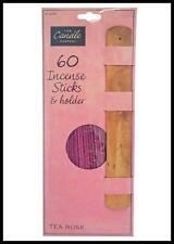 60 Tea Rose Insence Sticks AND Holder Aroma Room Fragrance Smell Scent Burners
