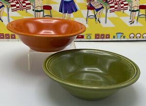 Vintage Homer Laughlin Fiesta Ironstone Ceral Bowls Turf Green Mango Red