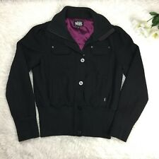 Vans Off the Wall Black Bomber Button and Zip Up Coat Jacket Sz M