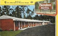 Waycross Georgia~Brick Construction Cherokee Motel~1940s Postcard