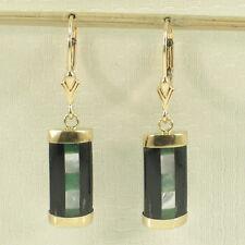 14k Yellow Gold Leverback Dangles On Cabochon of Jade & Black Onyx Earrings TPJ