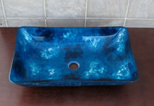 Bathroom Art Rectangular Glass Vessel Vanity Sink RE9023 with free pop up drain
