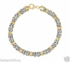 "7.25"" Domed Status Byzantine Bracelet Real 14K Yellow White Gold QVC J287941"