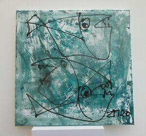 Fische Malerei Sonja Zeltner-Müller Ol/Acryl/LW 40x40 Atelier Düsseldorf