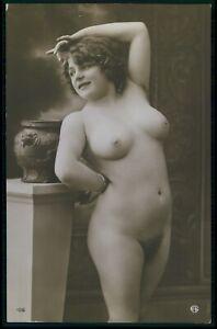 French full nude woman busty older Miss Fernande original 1910s photo postcard
