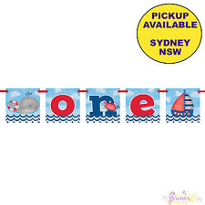 NAUTICAL BOYS 1ST BIRTHDAY PARTY SUPPLIES ONE BANNER BUNTING DECORATIONS