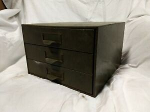 Lyon Green Metal small 3 Drawer Tabletop Cabinet Storage Industrial craft car