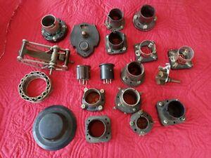 Antique Radio Parts Lot Vintage Sockets Vernier Dial Condenser 199 Adaptors 1920