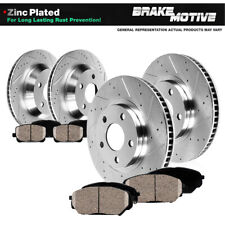 Front & Rear Drilled Slotted Brake Rotors And Ceramic Pads For 10-13 Genesis